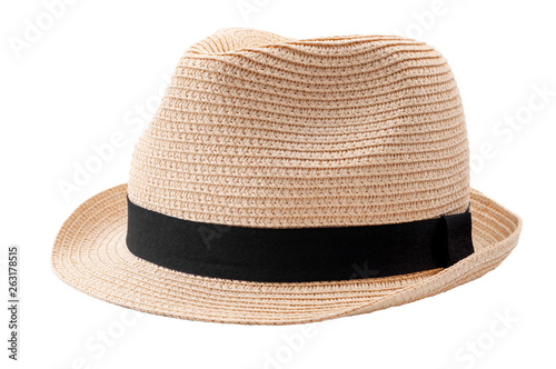 Obraz Summer and beach fashion, personal accessories and holiday head wear concept theme with a straw hat or fedora with a black strap or ribbon isolated on white background with a clip path cutout - fototapety do salonu