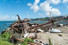 Hurricane Irma Destroys A Boat  On The Island Of St.maarten.