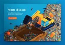 Flat Landing Waste Disposal At Huge Garbage Dump.
