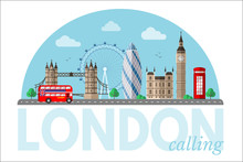 London Cityscape Vector Clipart With Lettering