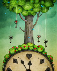 Fototapeta Do pokoju młodzieżowego Concept fantasy illustration or poster with tree with keys and clock, Wonderland.