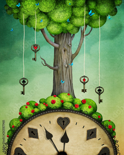 Concept fantasy illustration or poster with  tree with keys and  clock, Wonderland.  - 263187968