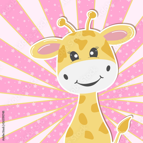 Greeting card cute adorable baby giraffe. Greeting card.