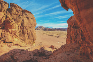 Timna valley. Sandstone cliffs in Timna park featuring King Solomon's Pillars