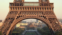 Detail Of Eiffel Tower, Tilt View From Bottom To The Top, Up Scroll