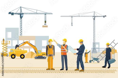 Valokuva Baustelle mit Bauarbeitern, Bagger und Kran