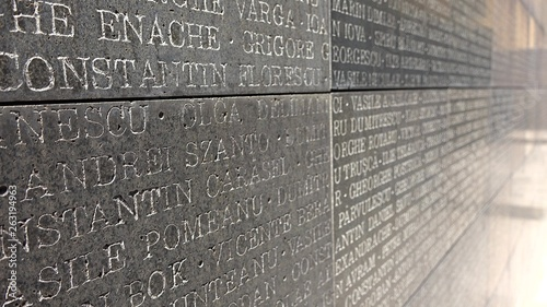 Many heroes name written on stone to honor martyrs Wallpaper Mural