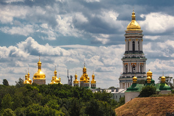 Fototapeta na wymiar Panorama view of the Kyiv Pechersk Lavra, the orthodox monastery included in the UNESCO world heritage list in Kyiv, Ukraine.
