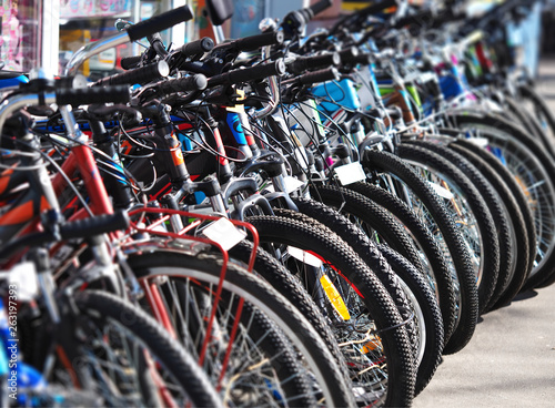 Poster Amsterdam Diagonal row of bicycles sport activity background