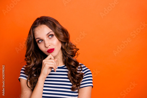 Fotografie, Obraz  Close up photo beautiful she her lady tempting red lipstick eyes look empty spac