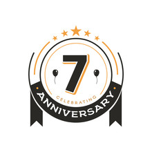 Birthday Vintage Logo Template 7 Th Anniversary Circle Retro Isolated Vector Emblem. Seventh Years Old Badge On White Background