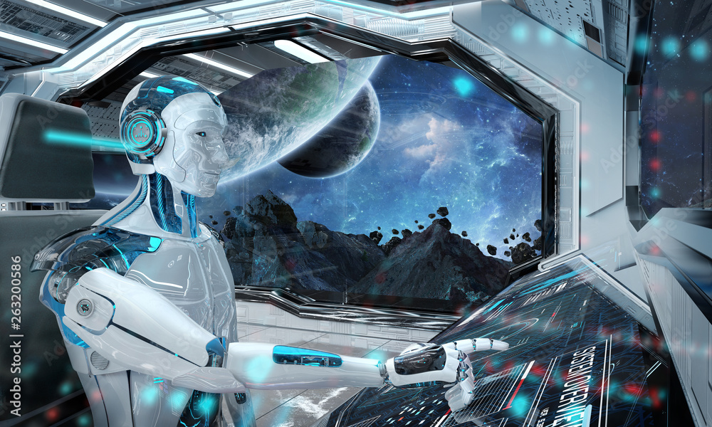 Fototapety, obrazy: Robot in a control room flying a white modern spaceship with window view on space 3D rendering