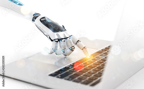 Fototapety, obrazy: White robot cyborg hand pressing a keyboard on a laptop 3D rendering