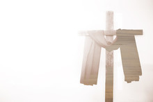 Soft Focus Of Cross In Light With Copy Space.Good Friday And Easter Concept.