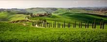 Tuscan Hill With Row Of Cypress Trees And Farmhouse At Sunset. Tuscan Landscape. Italy