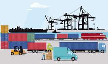 Hafen Mit Container Und Lastwagen