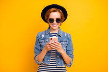 Close Up Photo Beautiful Foxy She Her Lady Chic Traveler Modern Look Telephone Reader User Excited Wear Specs Vintage Hat Casual Striped T-shirt Jacket Jeans Denim Isolated Yellow Bright Background