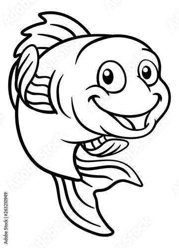 Photo  A friendly cartoon goldfish or gold fish character
