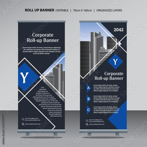 Photo  Roll up design template for corporate business