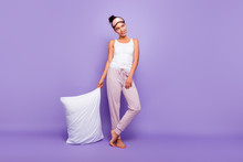 Full Length Body Size Photo Beautiful She Her Lady Look Empty Space Wondered Thoughtful Hold Hand Arm Pillow Barefoot Wear Sleeping Mask Pants Tank-top Pajamas Isolated Violet Purple Background