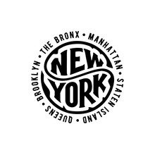 New York Circle Lettering With...