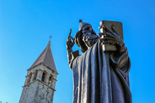 Statue Of Bishop Gregory Of Nin Holding A Book In Front Of Diocletian's Palace, Split, Croatia