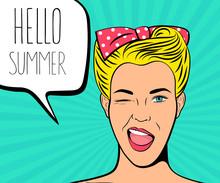 Summer Poster. Pop Art Vintage...