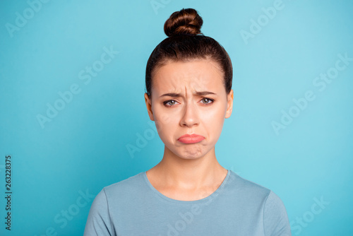 Close up photo beautiful amazing wonderful she her lady sad cry displeased facia Canvas Print