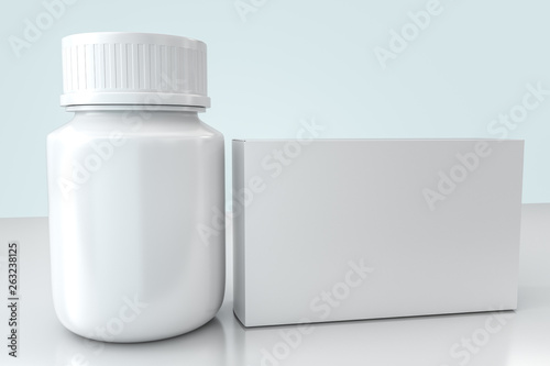 Fototapeta 3d rendering, white medicine bottle with package boxes obraz