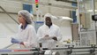 Workers on a production line in pharmaceutical and cosmetics factory