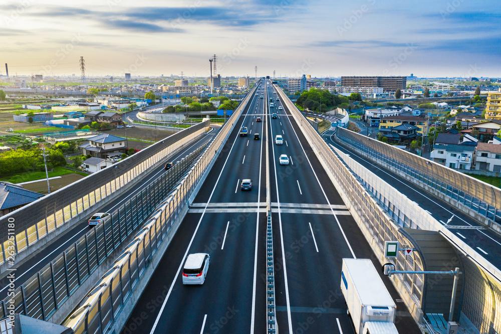 Fototapeta 都市と交通 空撮