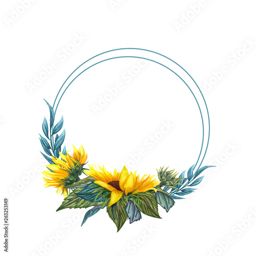 Watercolor floral wreath with sunflowers,leaves, foliage, branches, fern leaves and place for your text. Fototapete