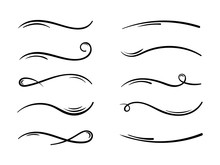 Hand Drawn Collection Of Curly Swishes, Swashes, Swoops. Calligraphy Swirl. Highlight Text Elements