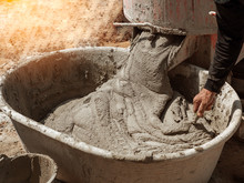 Cement Or Mortar Is Inside Cement Mixer Pouring In Basin