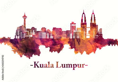 Kuala Lumpur Malaysia skyline in red Canvas Print