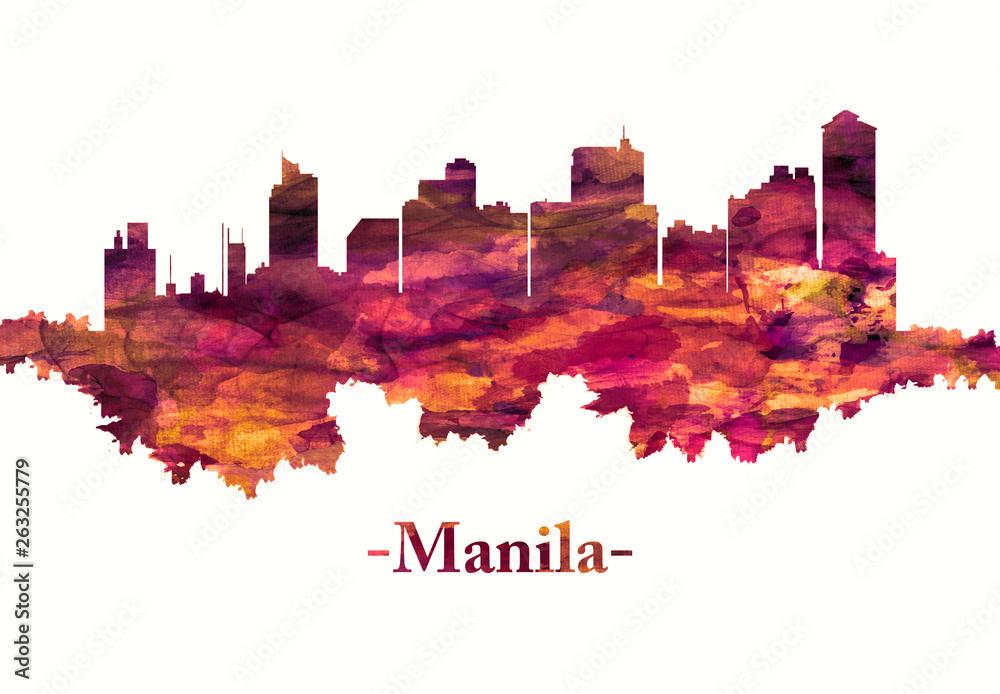 Manila city Philippines skyline in red