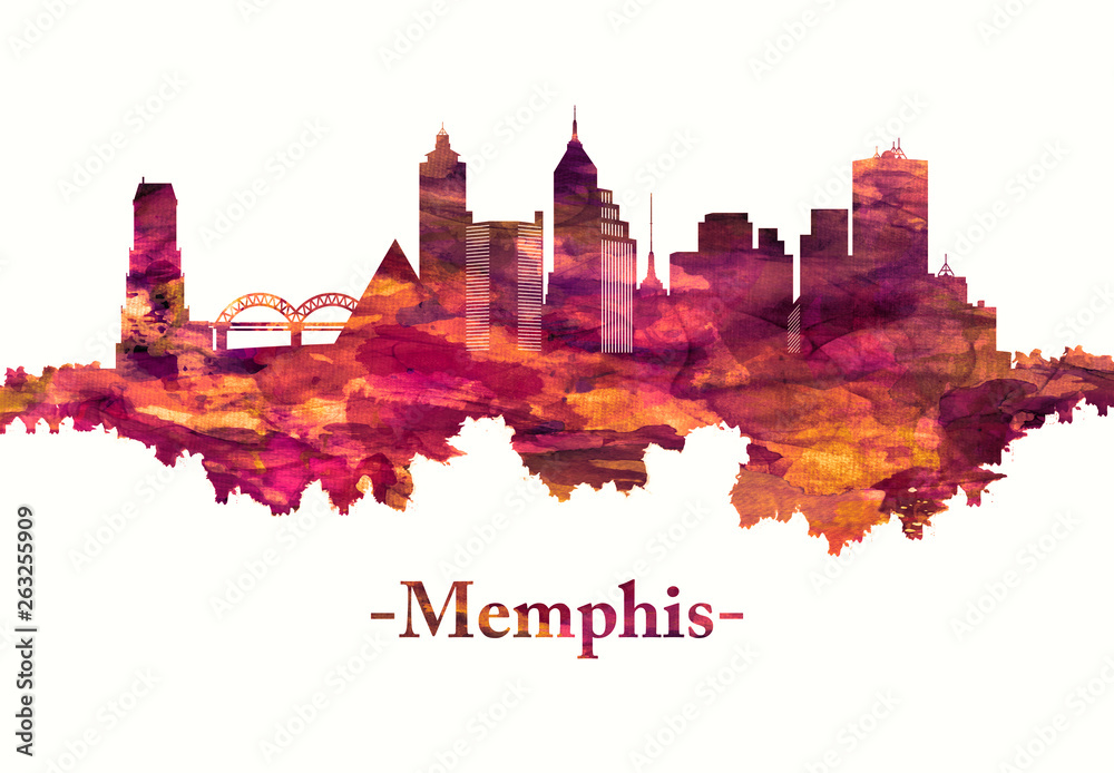 Fototapeta Memphis Tennessee skyline in red
