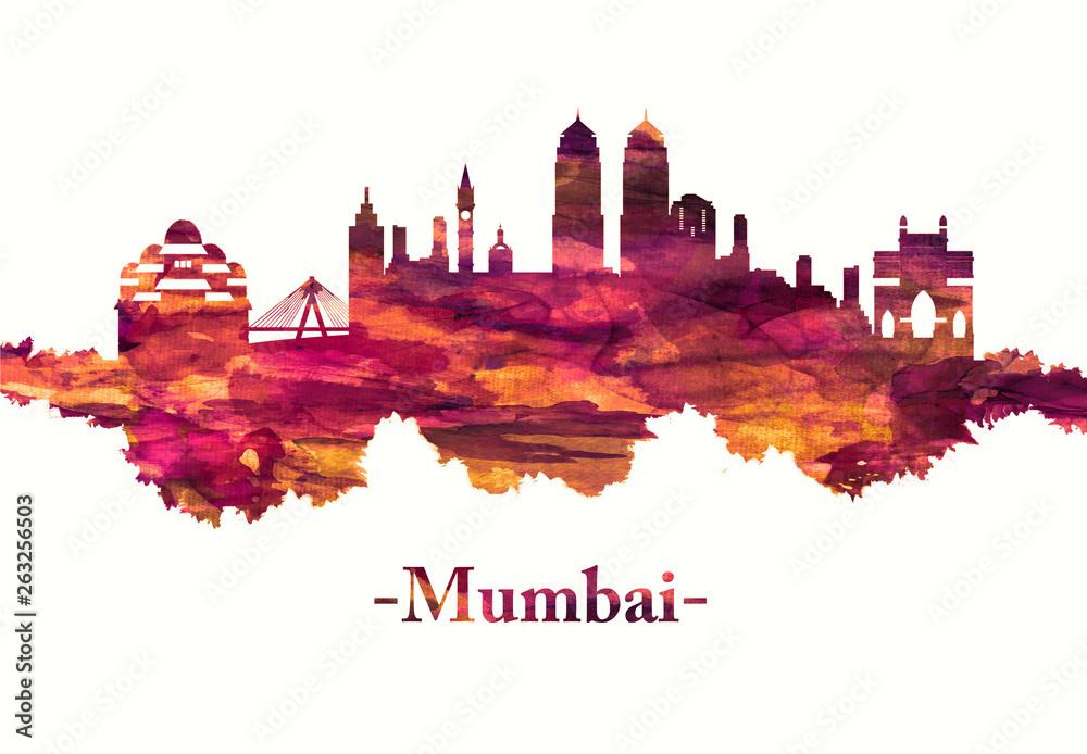 Mumbai India skyline in red