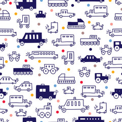 Cute cars greeting card. Kids automobile. Can be used for wallpaper, textile,...