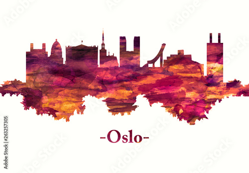 Fototapeta Oslo Norway skyline in red