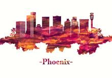 Phoenix Arizona Skyline In Red