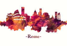 Rome Italy Skyline In Red