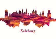 Salzburg Austria Skyline In Red
