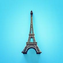 Paris Symbol Eiffel Tower Over Blue Background