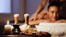 Woman Relaxing In Spa Salon Wi...