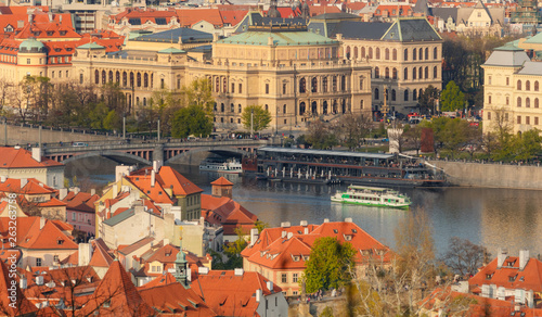 Photo sur Toile Europe de l Est Rudolfinum Theater - Beautiful sunset light over Prague old town from Petrin hill