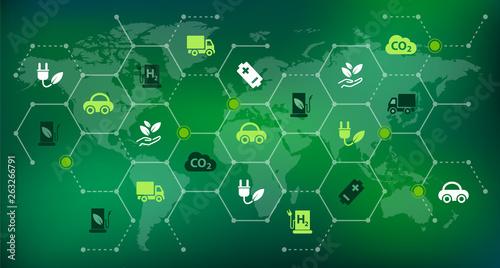 Bio fuel / alternative fuel concept - vector illustration Canvas Print