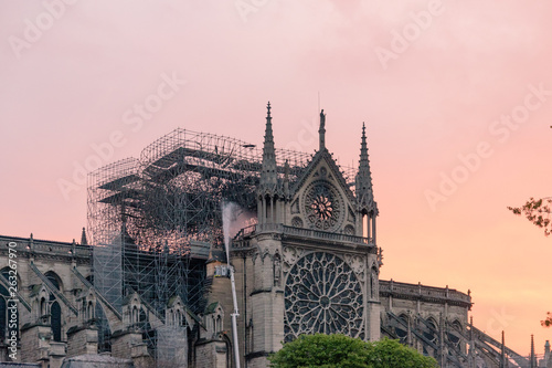 Fotografia  Paris, France - April 16th 2019: Notre Dame Cathedral the morning after the fire