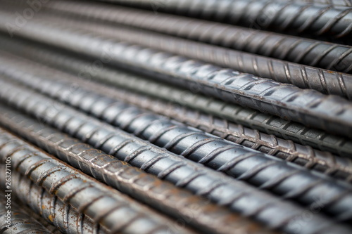 Stampa su Tela Stack of steel bar texture in construction site for background.