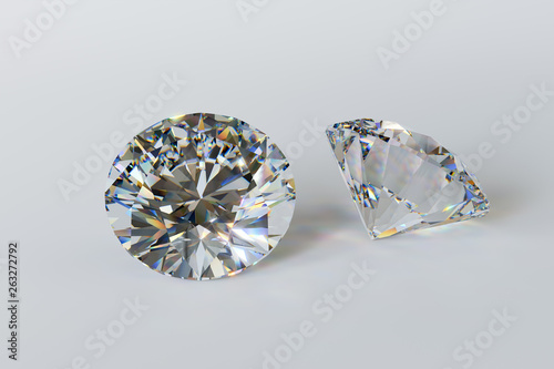 Fotografie, Tablou  Round cut diamonds on white background